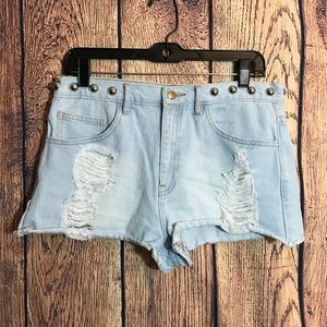 Forever 21 Distressed Studded Shorts 30 Light Wash